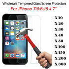 LOT 100x Wholesale 9H Tempered Glass Screen Protector Film for iPhone 7 4.7""