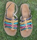 100% MOROCCAN LEATHER  MULTI COLOUR SANDALS * 3 sizes available HAND MADE