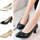 Fashion Women Leather Classic Office Wedding Lady Round Toe Pump High Heel Shoes