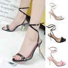 Women Strappy Lace Up Stiletto High Heel Sandals Pumps Pointed Leather Shoes