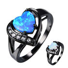 Heart Shaped Blue/White Fire Opal Wedding Promise Ring Black Gold Filled Sz4-12