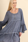 Umgee Plus Size Vintage Blue Cotton Gypsy Baby Doll Tunic Top Dress