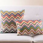 19x12''/18x18'' Red Blue Olive Beige Colorful ZigZag Chevron Linen Cushion Cover