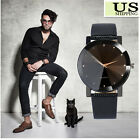 Fashion Womens Mens Casual Classic Analog Couple Watch Leather Band Rhombus Dial