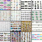 wholesale wedding rings - Wholesale Bulk Colourful CZ Rhinestone Silver wedding Rings Lot Jewelry Gift