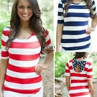 Fashion Women Ladies Short Sleeve Back Bow T-shirt Splicing Color Casual TXSU