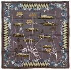 NEW Authentic Hermes Silk Scarf LES BOLIDES Brown Rena Dumas