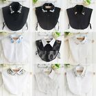 Women False Collar Detachable Plaid Lapel Half Shirt Blouse Bib Choker Necklace