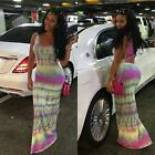 New Fashion Women's Africa Print Casual Slim Long Strappy Bodycon Summer Dress
