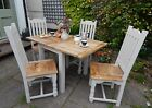 Small Extending Rustic Oak Kitchen Dining Set Table & Chairs Painted or Natural