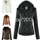 New Womens Leather Hooded Jacket Slim Parka Coat Overcoat Trench Winter Outwear