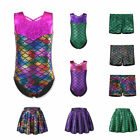 Внешний вид - Girls Ballet Dance Bodysuit 2-12Y Kids Mermaid Gymnastic Leotards Skating Skirt