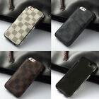 Luxury famous Pattern Grid Leather Back cover case for iphone 8  6 7 s plus LV8
