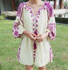 Embroidery Women Tassel Casual Loose Long Sleeve Floral Cotton Linen Shirt Dress