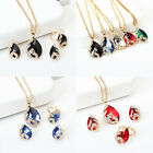3Pcs Women Diamante Chain Jewelry Set Necklace Earrings Ring Crystal Pendant