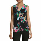 Worthington Sleeveless Knot-Neck Top Petite Size PS New Paradise Multi