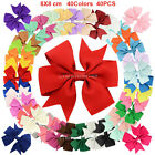 40PCS Baby Girls Big Grosgrain Ribbon Boutique Hair Bows Alligator Clips