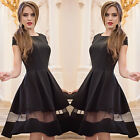New Fashion Lady's Woman's Pure Color Net Yarn  Stitching Posed One-piece Dress