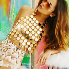 Women Hlater Strap Crop Top Scales Sequin Acrylic Bodycon Club Tank Vest Blouse