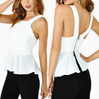 New Women's Peplum Peplum Top Tank Tee Shirt Strappy with Exposed Zip Back