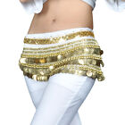 BellyLady Womens Multi-Row Gold Coins Belly Dance Dancing Skirt Wrap & Hip Scarf