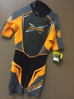 MENS SHORT SLEEVE WET SUIT GREY / ORANGE MEDIUM
