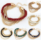 Women Multilayer Hand made Cuff Bracelet Charm Chain Bangle Jewelry New