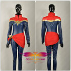 Captain Marvel Ms. Marvel Carol Danvers PU Leather Suit Cosplay Costume Custom
