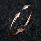 Cute Opening Nail Smooth Rose Gold GP Surgical Stainless Steel Bangle Bracelet
