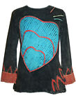 R 006 Agan Traders Rib Cotton Heart Patched Embroidered Boho Gypsy Top Blouse
