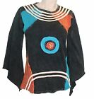 R 007 Agan Traders Nepal Bohemian Knit Cotton Bell Sleeve Patch Gypsy Top Tunic