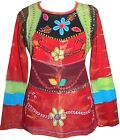 255 Agan Traders Nepal Rib Cotton Funky Embroidered Bohemian Gypsy Top Blouse