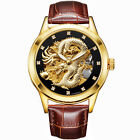 Luxury Mens Dragon Carved Automatic Mechanical Skeleton Steel Leather Wristwatch