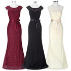 Long Mermaid Lace Formal Evening Bridesmaids Vintage Cocktail Gown Prom Dresses