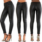 WOMEN HIGH WAIST LEATHER TROUSERS LEATHER LOOK SLIM FIT JEANS SIZE 6-14
