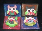 Colourful Cloth Zip Owl Purse  Variety of colours available Red, Orange, Green