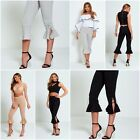 New Womens Flared Pleated Lace Up Hem Trousers Ladies Summer Trousers Size 8-14
