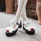 Lolita Princess Sweet Strawberry Bell Bowtie High Heels Shoes Cosplay Shoes