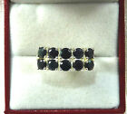 3.40ct Natural Black Sapphire 925 Sterling Silver Cluster Ring