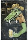 Poster Print Wall Art entitled Rustic bar door with mural of alligator holding