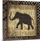 Solid-Faced Canvas Print Wall Art entitled African Wild Elephant Border