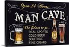 Man Cave Canvas Wall Art Print, Beer Home Decor