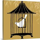 Premium Thick-Wrap Canvas Wall Art entitled Birdcage Silhouette I