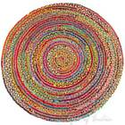4, 5, 6 ft Round Colorful Natural Jute Chindi Sisal Woven Area Braided Rug Boho