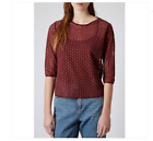 TOPSHOP Burgundy Daisy Embroidered Mesh Tee Shirt Top 6 10 12 16