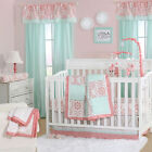 Mint Green and Coral Patchwork 3 Piece Baby Crib Bedding Set by The Peanut Shell