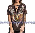 AFFLICTION Born To Run AW16039 Women`s New Black/Brown Top