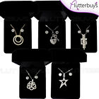Necklace Earring Set Gift Boxed Diamante Crystal Rhinestone Silver Gold Ladies ❤