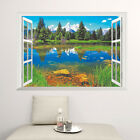 Window View FOREST Lake Removable Huge 3D Wall Art Sticker Decal Decor Mural