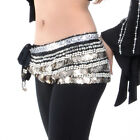 BellyLady Womens Belly Dance Dancing Hip Scarf Multi-Row Silver Coin Dance Skirt